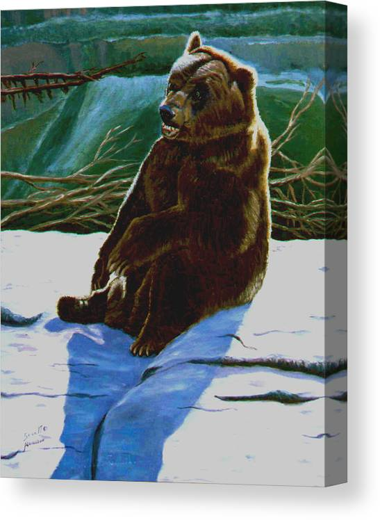 Original Oil On Canvas Canvas Print featuring the painting The Bear by Stan Hamilton