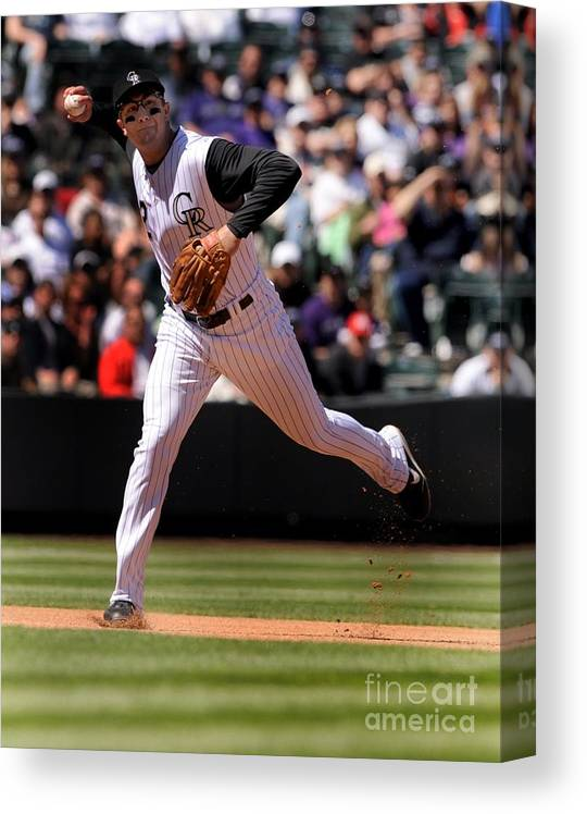 People Canvas Print featuring the photograph Troy Tulowitzki by Steve Dykes