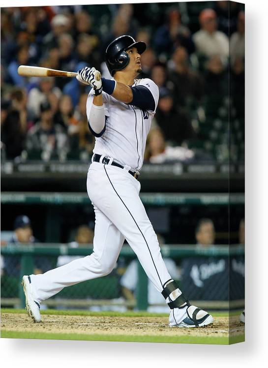 American League Baseball Canvas Print featuring the photograph Victor Martinez by Duane Burleson