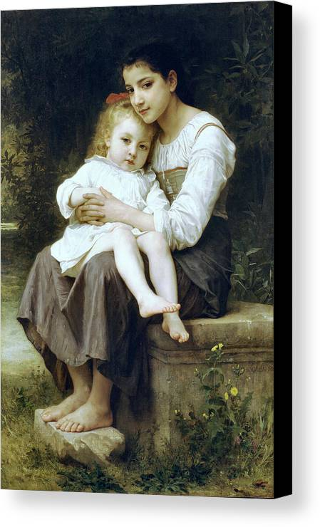 Big Sister Canvas Print featuring the digital art Big Sister by William Bouguereau