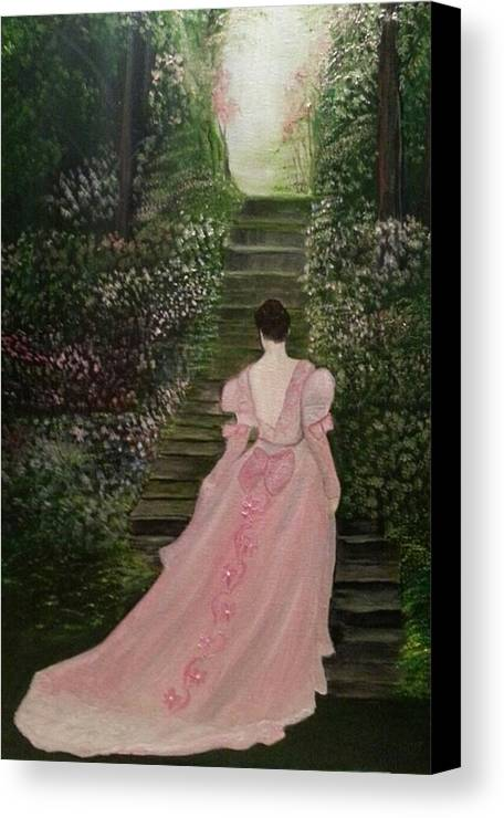 Still Paintings Canvas Print featuring the painting Enchanted Garden by Linda Morrison