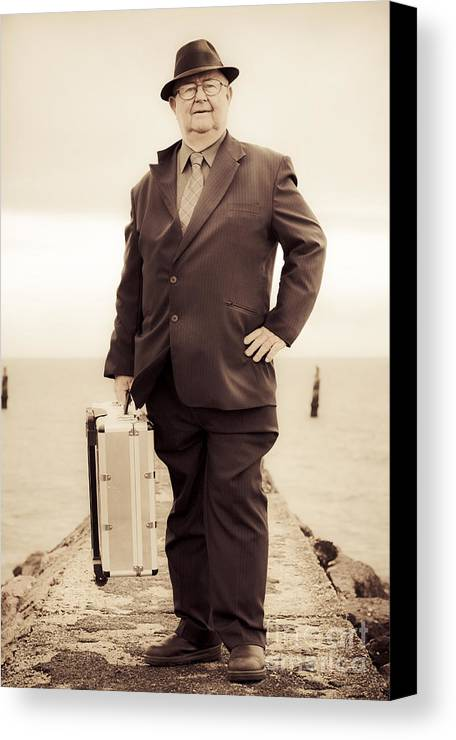 Person Canvas Print featuring the photograph Vintage Traveling Business Man by Jorgo Photography - Wall Art Gallery