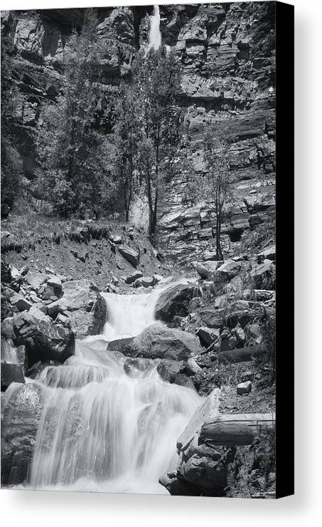 Best Sellers Canvas Print featuring the photograph Black And White Waterfall by Melany Sarafis