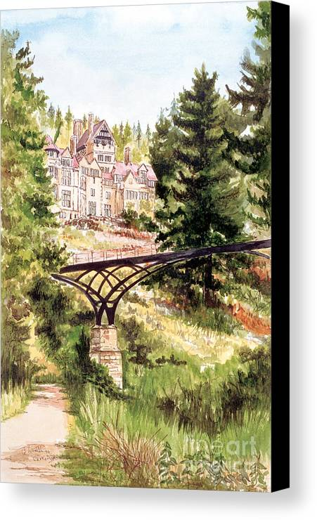Bridge Canvas Print featuring the painting Cragside by George Levitt