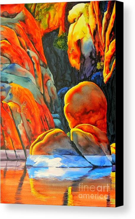 Watercolor Canvas Print featuring the painting Watson Lake by Robert Hooper