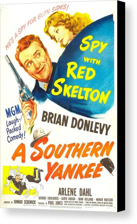 1940s Movies Canvas Print featuring the photograph A Southern Yankee, Us Poster, Red by Everett