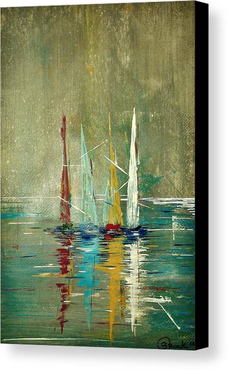 Sailboats Canvas Print featuring the painting After The Storm by Kyle Brock