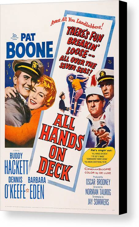 1960s Movies Canvas Print featuring the photograph All Hands On Deck, L-r Pat Boone by Everett