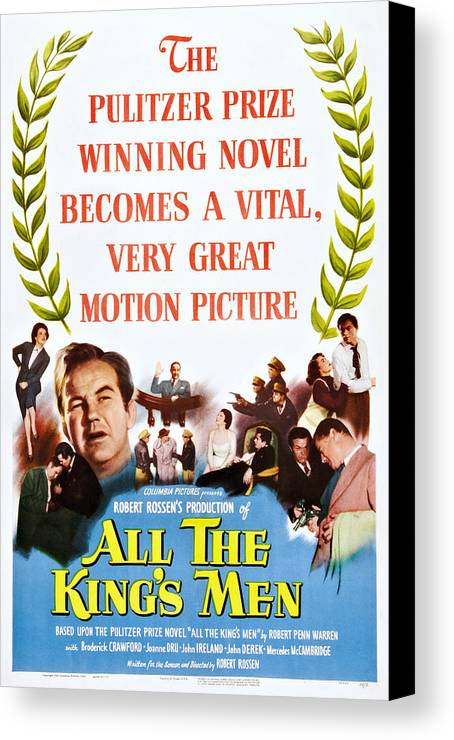 1940s Movies Canvas Print featuring the photograph All The Kings Men, Left Center by Everett