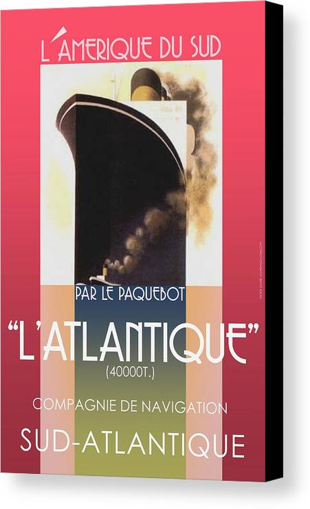 Vintage French Travel Poster Updated/redone And New Colors Added... Vintage Look... Canvas Print featuring the digital art French Travel Poster Advertisement Atlantique by Steven Boland