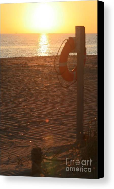 Beach Canvas Print featuring the photograph Beach At Sunset by Nadine Rippelmeyer