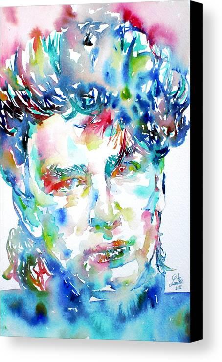 Bono Canvas Print featuring the painting Bono Watercolor Portrait.1 by Fabrizio Cassetta