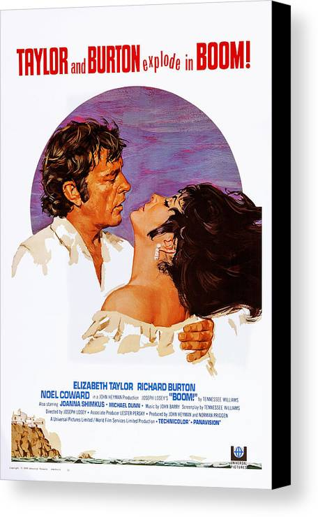 1960s Movies Canvas Print featuring the photograph Boom, Us Poster, Richard Burton by Everett