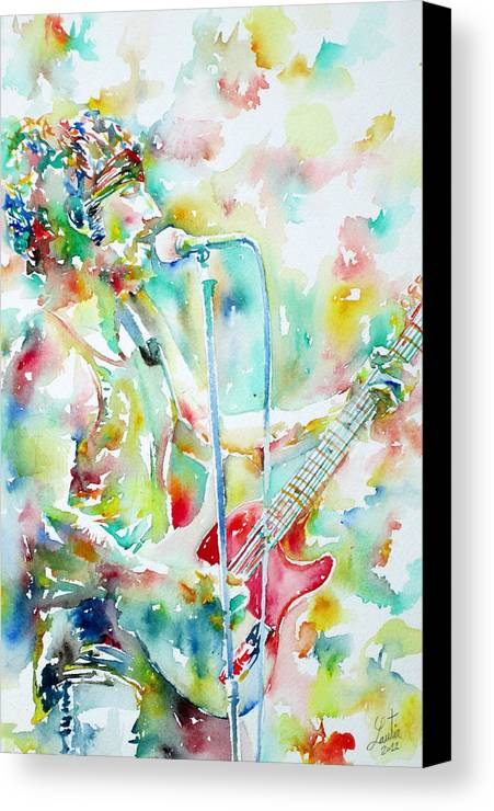 Bruce Canvas Print featuring the painting Bruce Springsteen Playing The Guitar Watercolor Portrait.1 by Fabrizio Cassetta