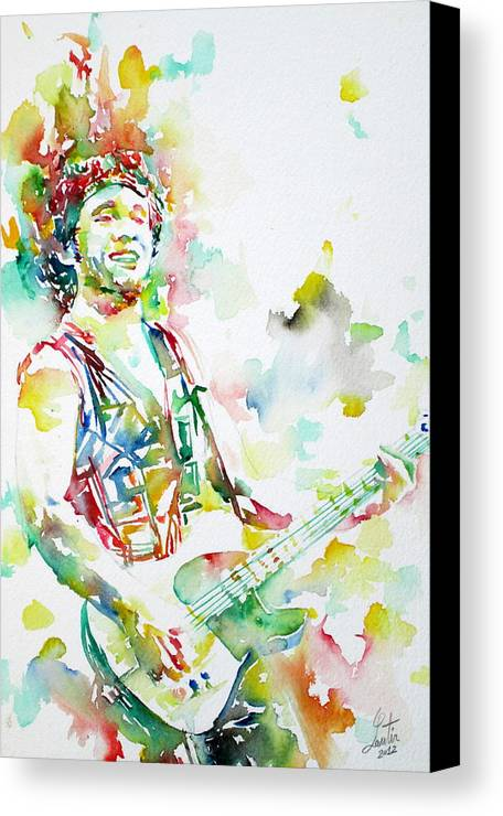 Bruce Canvas Print featuring the painting Bruce Springsteen Playing The Guitar Watercolor Portrait.2 by Fabrizio Cassetta