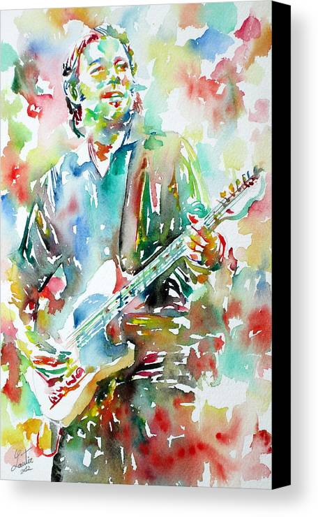 Bruce Canvas Print featuring the painting Bruce Springsteen Playing The Guitar Watercolor Portrait.3 by Fabrizio Cassetta
