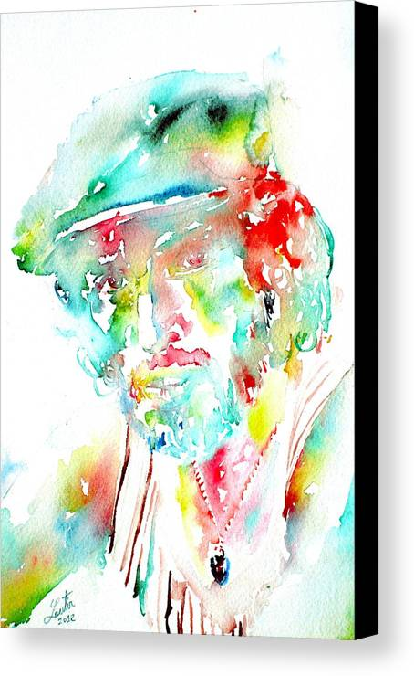 Bruce Canvas Print featuring the painting Bruce Springsteen Watercolor Portrait by Fabrizio Cassetta