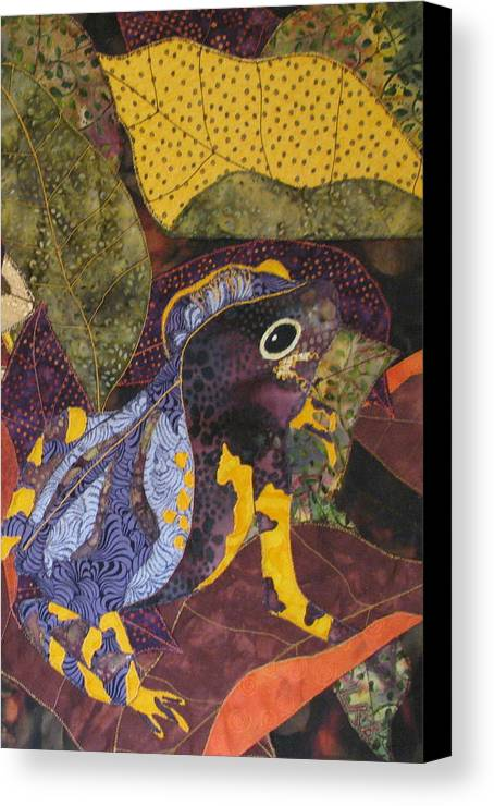 Nature Tapestries Textiles Canvas Print featuring the tapestry - textile Camouflaged Forest Toad by Lynda K Boardman