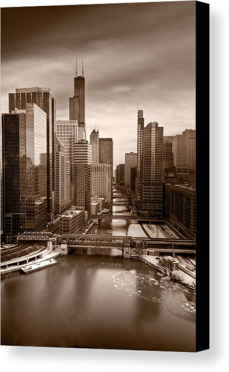 Train Canvas Print featuring the photograph Chicago City View Afternoon B And W by Steve Gadomski
