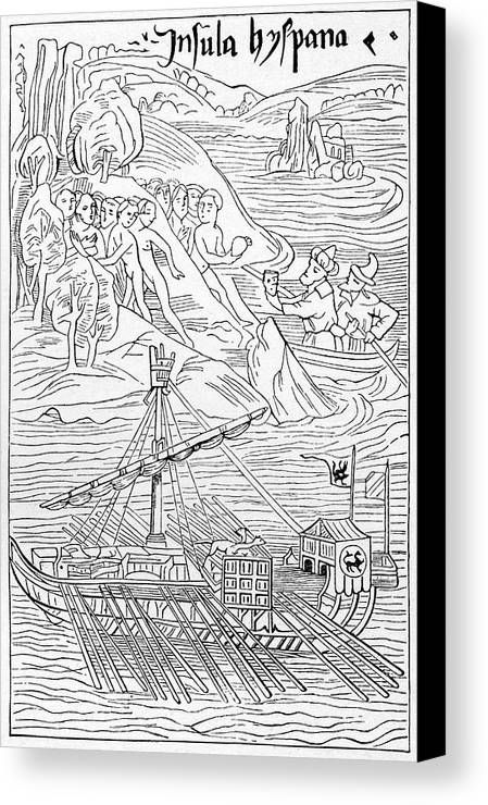 Nobody Canvas Print featuring the photograph Columbus Arriving At Guanahani by Cci Archives