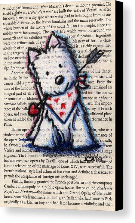 Cupid Canvas Print featuring the drawing Cupid Westie by Kim Niles