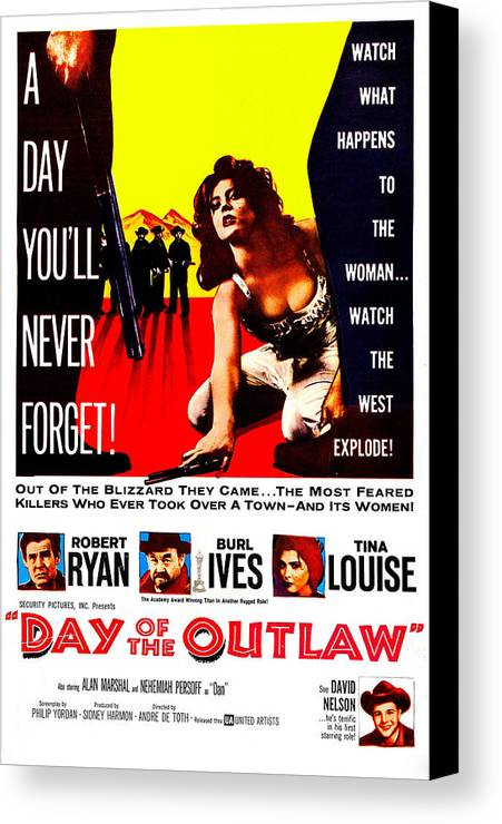1950s Poster Art Canvas Print featuring the photograph Day Of The Outlaw, Us Poster, Tina by Everett