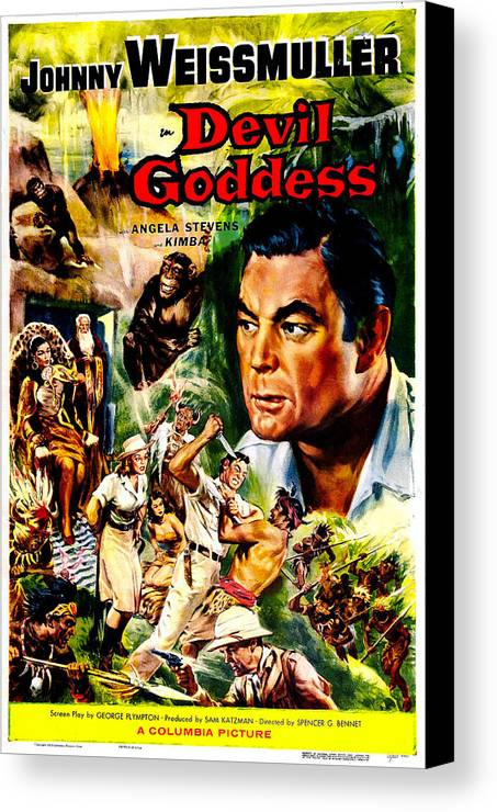 1950s Poster Art Canvas Print featuring the photograph Devil Goddess, Us Poster, Johnny by Everett