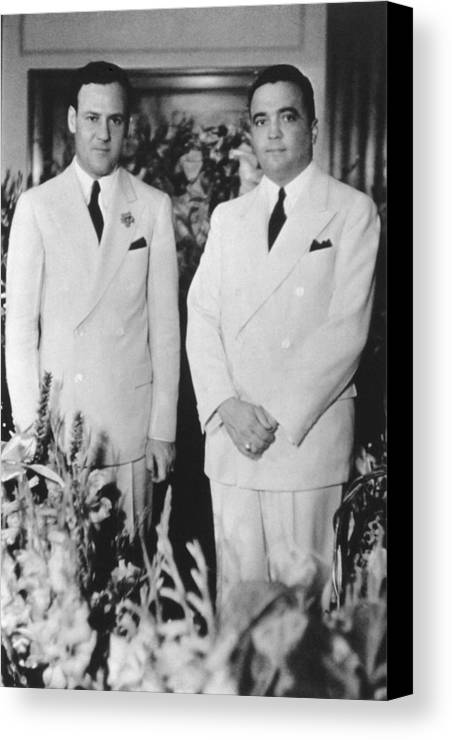 History Canvas Print featuring the photograph Fbi Director J. Edgar Hoovers 20th by Everett