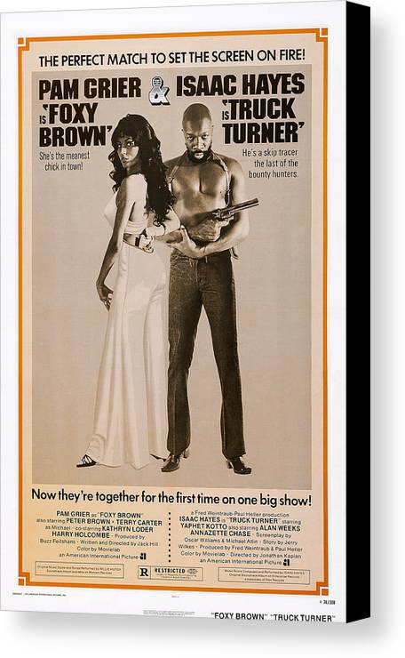 1970s Poster Art Canvas Print featuring the photograph Foxy Brown On Combo Poster With Truck by Everett