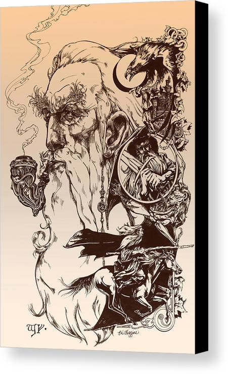 Wizard Canvas Print featuring the drawing gandalf- Tolkien appreciation by Derrick Higgins