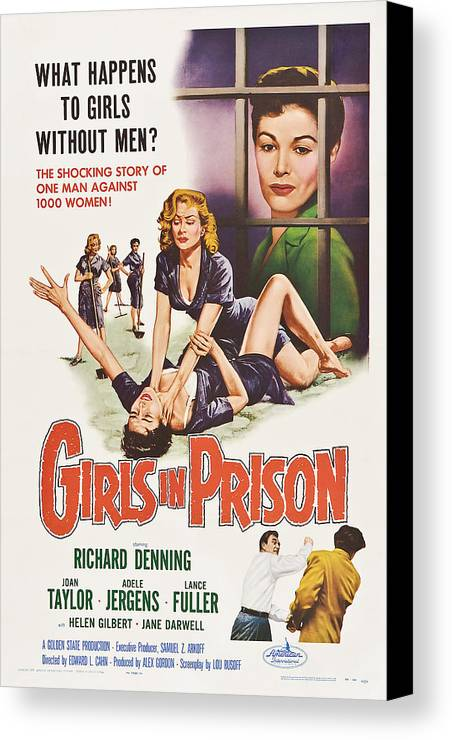1950s Poster Art Canvas Print featuring the photograph Girls In Prison, Us Poster, Joan by Everett