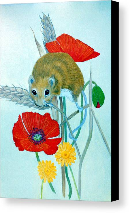 Harvest Canvas Print featuring the painting Harvest Mouse by Olive Denyer