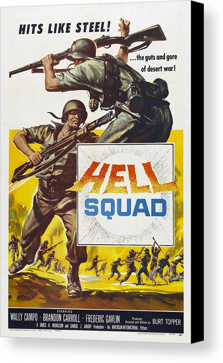 1950s Poster Art Canvas Print featuring the photograph Hell Squad, Poster Art, 1958 by Everett