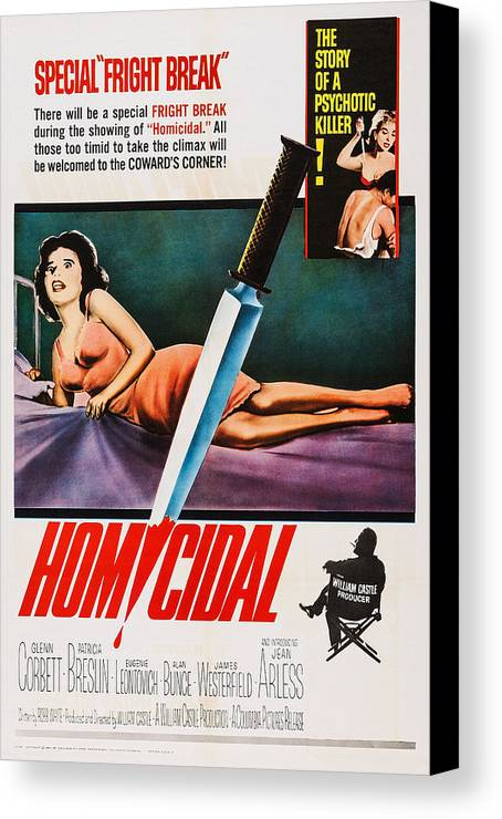 1960s Movies Canvas Print featuring the photograph Homicidal, Us Poster, Patricia Breslin by Everett