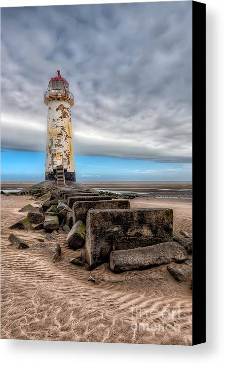 Beach Canvas Print featuring the photograph Lighthouse Steps by Adrian Evans