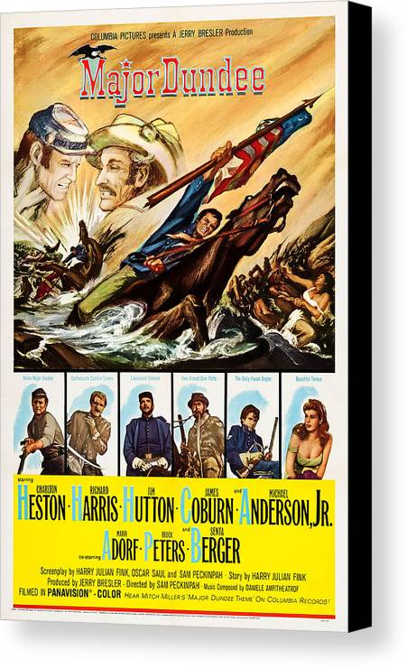1960s Movies Canvas Print featuring the photograph Major Dundee, Top From Left Charlton by Everett