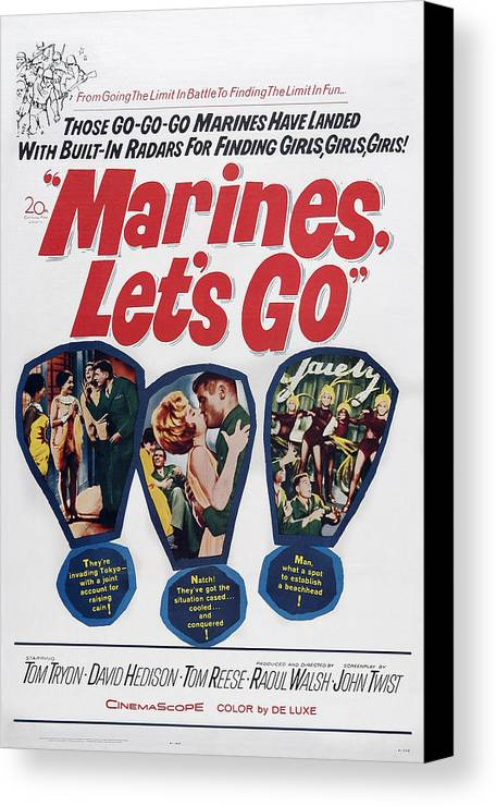 1960s Movies Canvas Print featuring the photograph Marines, Lets Go, Us Poster, 1961, Tm & by Everett