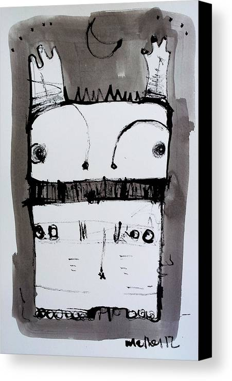 Sumi Canvas Print featuring the drawing Monstra No. 1 by Mark M Mellon