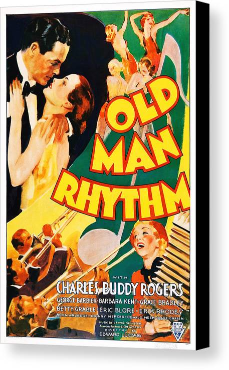 1930s Movies Canvas Print featuring the photograph Old Man Rhythm, Us Poster, From Top by Everett