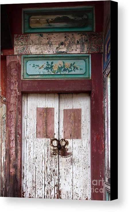 Old Canvas Print featuring the photograph Old Wooden Chinese Door by Yali Shi