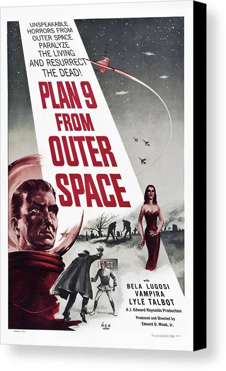 1950s Poster Art Canvas Print featuring the photograph Plan 9 From Outer Space, Vampira, 1959 by Everett