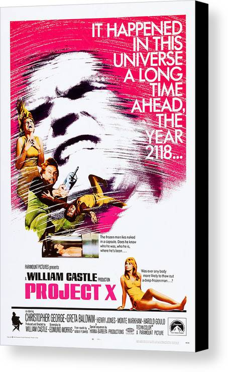 1960s Movies Canvas Print featuring the photograph Project X, Us Poster, Christopher by Everett