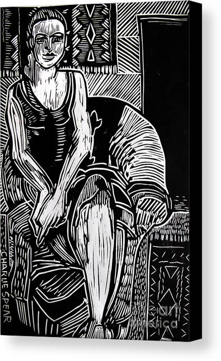 Lino-cut Canvas Print featuring the relief Reclining by Charlie Spear