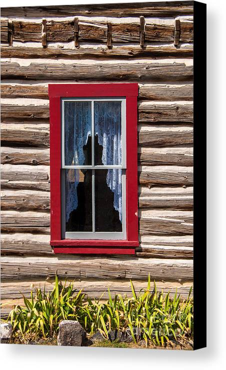 Red Canvas Print featuring the photograph Red Window Log Cabin - Idaho by Gary Whitton