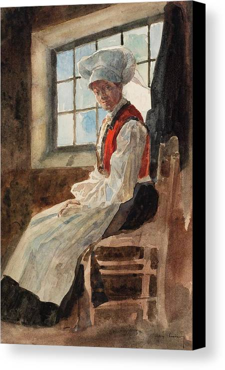 Scandinavia Canvas Print featuring the painting Scandinavian Peasant Woman In An Interior by Alexandre Lunois