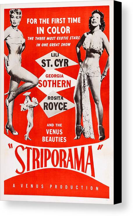 1950s Poster Art Canvas Print featuring the photograph Striporama, Us Poster, From Left Lili by Everett