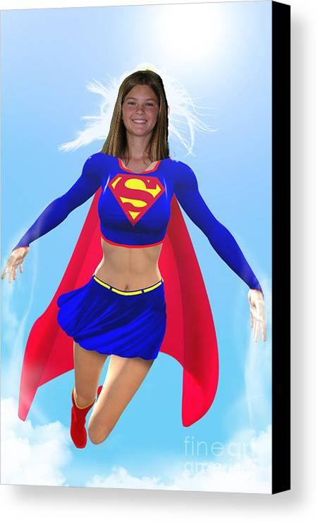 Superwoman Canvas Print featuring the digital art Super Nina by Allan Hughes