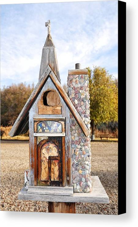 Melba; Idaho; Birdhouse; Shelter; Outdoor; Fall; Autumn; Leaves; Plant; Vegetation; Land; Landscape; Tree; Branch; House; Cross; Canvas Print featuring the photograph The Birdhouse Kingdom - The American Coot by Image Takers Photography LLC - Carol Haddon
