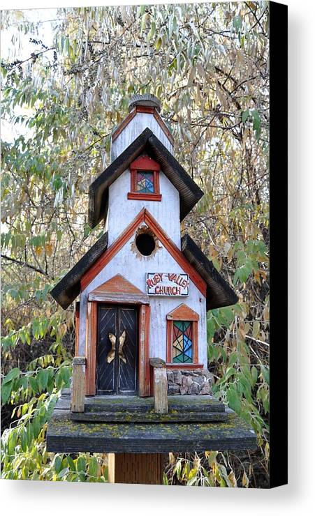 Melba; Idaho; Birdhouse; Shelter; Outdoor; Fall; Autumn; Leaves; Plant; Vegetation; Land; Landscape; Tree; Branch; House; Canvas Print featuring the photograph The Birdhouse Kingdom -the Pygmy Nuthatch by Image Takers Photography LLC - Carol Haddon