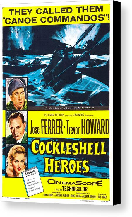 1950s Poster Art Canvas Print featuring the photograph The Cockleshell Heroes, Us Poster, Left by Everett